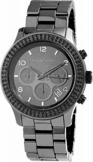 Michael Kors Black Ceramic Runway Chronograph Crystal Watch MK5360