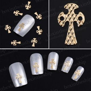 50pcs Gold Alloy 3D Nail Art Cross Stickers Slices Tips DIY
