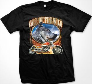 Call of the Wild Men's T Shirt Biker Chopper Motorcycle Wolf Design