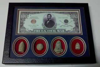 CIVIL WAR BULLETS MATTED DISPLAY NOVELTY DOLLAR BILL ABE LINCOLN