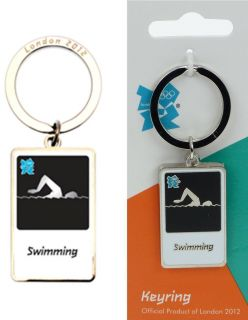 London 2012 Olympic Logo Swim Swimming Pool Metal Key Chain Ring Gift