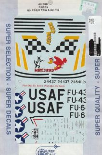 48 SuperScale Decals USAF F 86F 80th FBS Bobs Buggy & 39th FIS Mike
