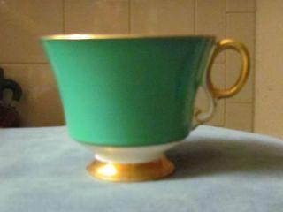 Adderley Bone China Lawley England 1789 Tea Cup teacup Green Gold