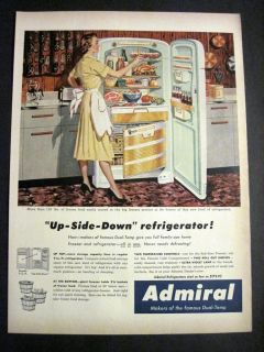 Vintage 1954 Admiral Refrigerator Illustrated Lady in her Kitchen 50s