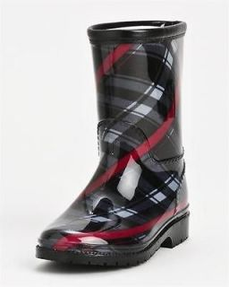 Henry Ferrera Kids Plaid Rain Boots Size 12/GREY RED