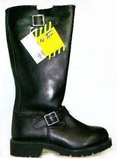 Mens Tall 16 Biker Engineer boots Black all leather oil resist Ad