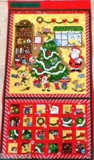 ADVENT CALENDAR CHRISTMAS fabric panel Santa fabric CALENDAR Christmas