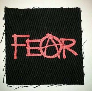 Anarchist FEAR Silk Screen CLOTH PATCH Punk Rocker ANARCHIST Sew on
