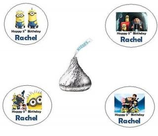 120 DESPICABLE ME PERSONALIZED CUSTOM BIRTHDAY PARTY HERSHEY KISS