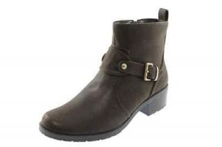 Anne Klein NEW Loyola Brown Belted Motorcycle Ankle Boots Heels Shoes
