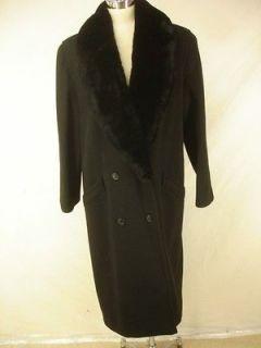 womens sz 16 long black wool coat sheared beaver fur shawl collar