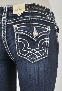 LA Idol Skinny Jeans With White Stitching And Pattern Design. SZ 0 13