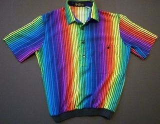 Medium Vintage Alan Stuart Bright Rainbow Vertical Stripe Mens Shirt