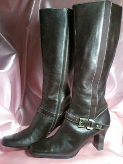 Anne Klein Boots ; Brown Leather ; Size 8 1/2 M ; Excellent Condition