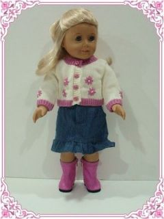 SWEATER+SKIRT+ BACK PACK+TEDDY BEAR/Doll Clothes Fit 18 American Girl
