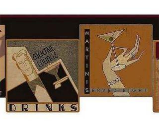 Martini Cocktail Jazz Wine Bar Wallpaper Border by York