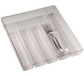 Large Clear Plastic Cutlery Storage Tray Kitchen Drawer Organization