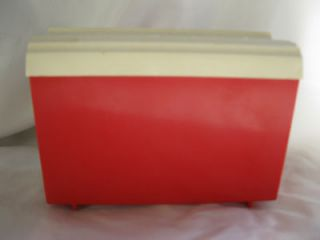 Vintage Retro Red & White Robin Hood Flour Plastic Recipe Box