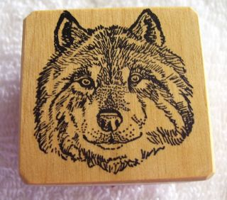 Ant Transfer Unused Rubber Mounted Wood Stamp Wolf Head Face