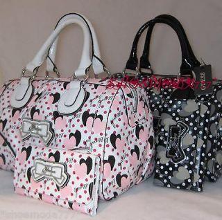 GUESS Glamour Girl Heart Logo Pin Up Bag Purse Handbag Satchel Sac