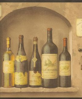 Wine Bottle & Cork Kitchen Wallpaper Border NV9652B