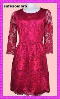 BN GORGEOUS WAREHOUSE FUCHSIA PINK LACE SKATER DRESS SIZE 8 10 12 16