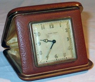 Old Vintage Phinney Walker Lux Travel Clock in Leather Case