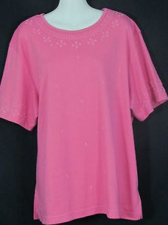 Alfred Dunner womens plus 1X pink bead design stretch shirt top BOGO