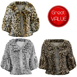 SOFT FAUX FUR SHRUG ANIMAL PRINT EVENING TIPPET CROPPED BOLERO PARTY