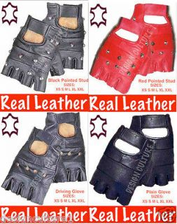 FINGERLESS LEATHER GLOVES BIKER GOTH PUNK GYM WEIGHT DRIVING CYCLING