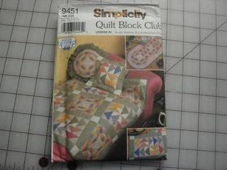 SIMPLICITY PATTERN #9451 QUILT BLOCK CLUB LESSON 6 DOUBLE WEDDING RING