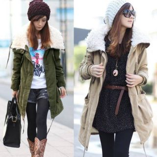 Women Military Long Coat Jacket Parka Trench Overcoat Fur Flocking