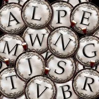 Initial Letter Monogram Ornate Vtg Scroll Bronze Necklace Charm