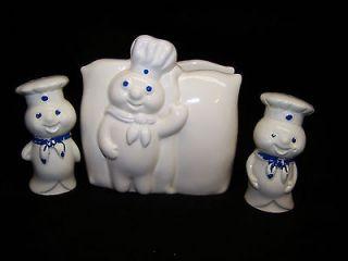 Vintage Pillsbury Dough Boy Napkin Holder and Salt & Pepper Shaker Set