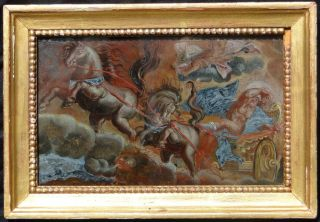 AN ANTIQUE REVERSE OLD MASTER SCHOOL MYTHOLOGICAL PAINTING ON GLASS