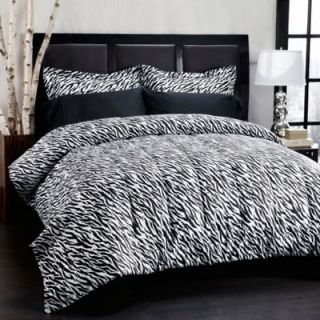 Wild Animal Print Zebra Black White Microfiber Comforter Set King