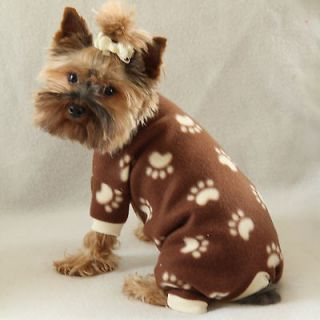XXS Paw Print Cozy Fleece Dog Pajamas clothes PJS pet apparel teacup