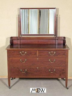 Antique Flame Mahogany Vanity Chest Dresser w/ Mirror