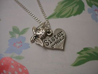 Sister Guardian Angel Heart Love Charm Silver Necklace