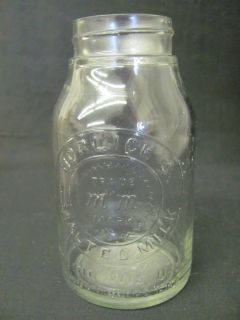 VINTAGE SMALL GLASS HORLICKS MALTED MILK BOTTLE RACINE WISCONSIN