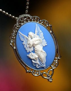 Stunning Guardian Angel Big Cameo Pins Brooches, Pendant Necklace(Two
