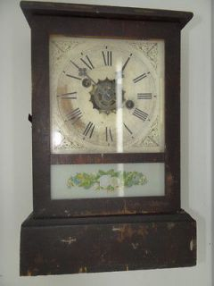 Anique Working Wood Wooden Glass Decoraive Floral Shelf Manle Clock