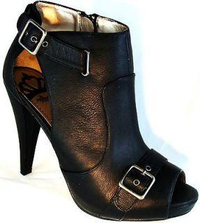 Fergie Magic Black Ankle High Heels Platform Peep Toe Boots Booties