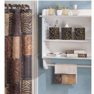 Animal Print Bath Room Shower Curtain Towel Toothbrush Lotion Soap