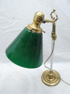 BRASS STUDENT BANKERS DESK LAMP LIGHT EMERALD GREEN CASE GLASS SHADE