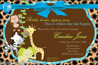 20 Invitations Leopard Jungle Monkey animal BABY SHOWER BIRTHDAY