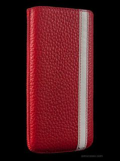 SENA CASES CORSA APPLE IPHONE 5 CASE LEATHER POUCH RED & WHITE