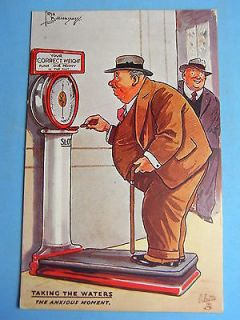 ComicPostcard 1930s Penny Arcade Weighing Slot Machine   Fat Man Theme