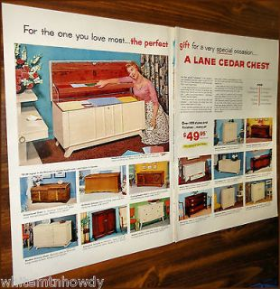 1955 LANE CEDAR HOPE CHEST 2 pg Photo AD 15 Models w/prices