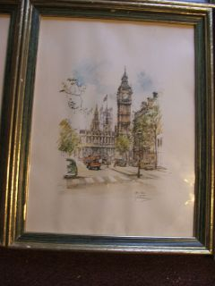 Vintage Big Ben London Jan Korthals Framed Art